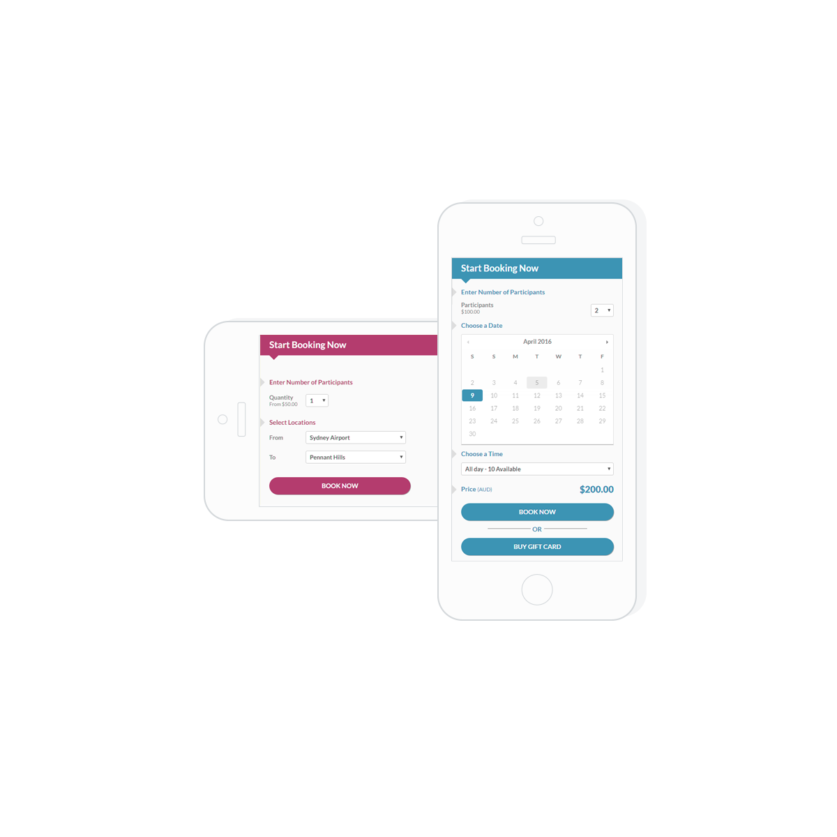 mobile customers booking form