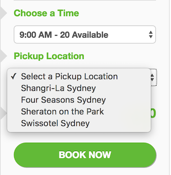 Allow customers to select a pickup location on the booking form