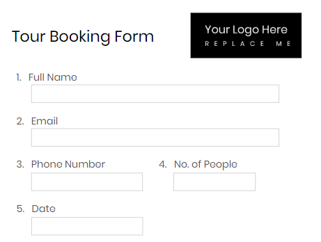 tour booking form template